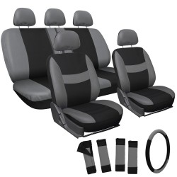 Black w/ Gray Stripes Seat Cover Set (17 pc Set)